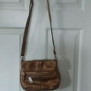 Tignanello crossbody metallic leather bag